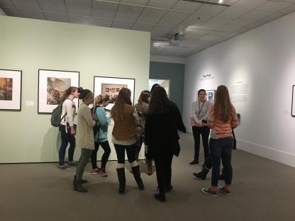 Laura facilitates gallery discussions with students from Olney Friends School (Barnesville, OH) and an OU Spanish 2000 level extra credit tour.