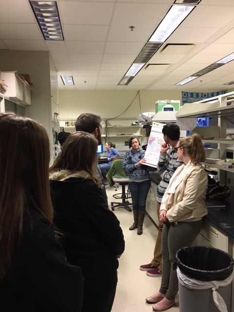 Touring Life Sciences labs with Karie Whitman, Eric Lund, Nancy Stevens, Patrick O'Connor and Larry Witmer.